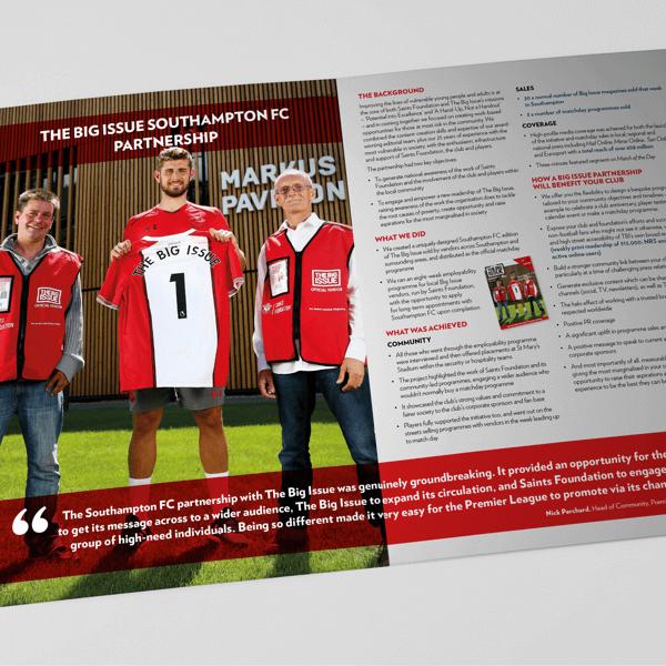Big Issue, Premier League, Sports Marketing, Football Club Marketing, Football Partnerships, Social Enterprise, Brochure design, Partnership Marketing