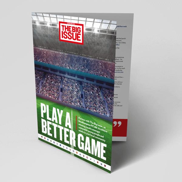 Big Issue, Premier League, Football Foundation, Nick Perchard, Russell Blackman, Sports Marketing, Football Club Marketing, Football Partnerships, Social Enterprise, Brochure design, Partnership Marketing