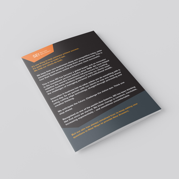 SEI Group, Richard Harland, SEI events, Fintech marketing, Brochure design, B2B, Big Issue